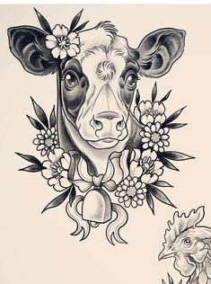 tattoo – tattoo – - Famous Last Words Vegan Tattoo, Tattoo Sketches, Tattoo Drawings, Art Drawings, Cute Tattoos, Beautiful Tattoos, Huhn Tattoo, Cow Tattoo, Farm Tattoo