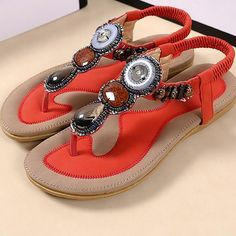 6a8e4d31a17b Women Summer Bohemia Rome Style Beaded Jewelry Lady Sandals Soft Outsole  Shoes