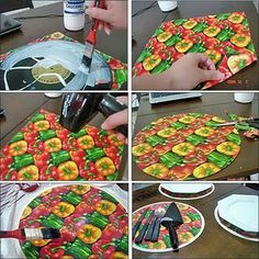 Covering vinyl records with Modge Podge and paper. Great for chargers/cake tiers/etc.