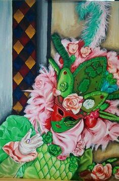 5fe24171e5eb Grand tableau acrylique Carnaval de Venise