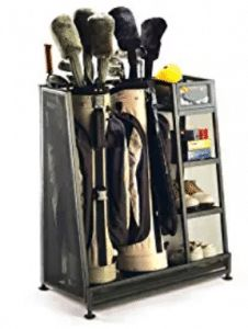 Great for the Hubs: Metal golf bag organizer. Stores two bags and standard golf equipment. Product: Golf organizerConstruction Material: Metal Color: BlackFeatures: Stores two golf bags and standard golf equipmentDimensions: H x W x D Garage Organization, Garage Storage, Bag Storage, Organizing Ideas, Organized Garage, Workshop Organization, Kayak Storage, Skateboard Storage, Sports Organization