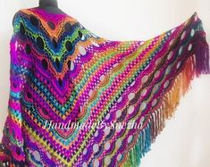 Rainbow Crochet Shawl Fringe Wraps 100 Wool OOAK Boho Lace Triangle Warm Shawl Mom Scarf Women Floral Hand Knit Shawl Large Big Crocheted History of Knitting Wool spinning, weaving and stitching careers such as for example BC. Although decades, alt. Poncho Crochet, Crochet Shawls And Wraps, Freeform Crochet, Knitted Shawls, Crochet Scarves, Crochet Clothes, Crochet Lace, Poncho Lana, Rainbow Crochet