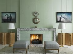 David Collins  Fireplace: marble and back painted glass surround