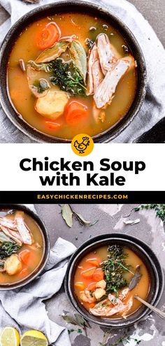 Chicken soup is one of my favorite comfort food recipes when the weather starts to cool. My version is full of healthy veggies, chicken leg quarters and a a tomato base for a low calorie dinner. Healthy Chicken Soup, Chicken Lunch Recipes, Healthy Chicken Recipes, Easy Healthy Recipes, Dinner Recipes, Soup And Salad, Kale Soup, Pasta Salad, Homemade Soup