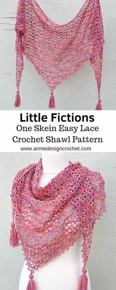 A free pattern for a one skein crochet shawl. One beautiful skein of yarn is all. A free pattern for a one skein crochet shawl. One beautiful skein of yarn is all that is needed to One Skein Crochet, Crochet Shawl Free, Crochet Gratis, Crochet Shawls And Wraps, Manta Crochet, Basic Crochet Stitches, Crochet Basics, Crochet Scarves, Crochet Patterns