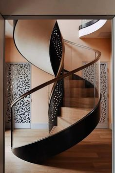 Ideas Grey Brown Wood Floors Black Doors For 2019 Stairs Architecture, Interior Architecture, Interior Design, Curved Staircase, Staircase Design, Spiral Staircases, Balustrades, Modern Stairs, Wood Panel Walls
