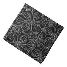 #black - #Halloween Spider Webs on Black Bandana