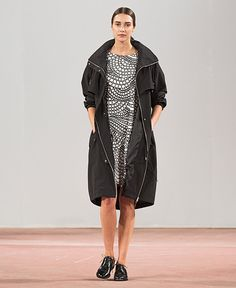 Black and white dress, black coat / Marimekko S/S 2015
