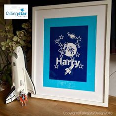 Items similar to Custom Stars, Rockets & Spaceman Name Papercutting Template on Etsy Falling Stars, Papercutting, Star Designs, Rockets, Art Drawings, How To Draw Hands, Hand Painted, Templates, Frame