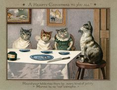 One of those cats looks more like a pig. And I don't like the way she's looking at that kitty. Cat Christmas Cards, Vintage Christmas Cards, Vintage Cards, Vintage Postcards, Merry Christmas, Christmas Mantles, Christmas Postcards, Christmas Graphics, Vintage Holiday