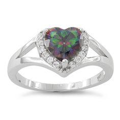 Sterling Silver Heart Shape Rainbow Topaz CZ Ring