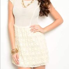 Beautiful dress! This dress is really pretty! It has pearls on the sleeves, and great lace detail! Dresses