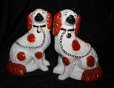 One of my favorite finds.  A pair of Staffordshire pottery Hearth / Mantel dogs.