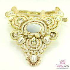 Bridal Weddind Soutache Necklace Kepingan Salji by OzdobyZiemi