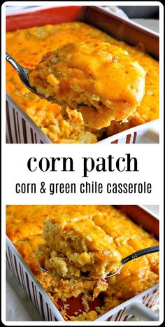 Corn Patch Corn Casserole is like corn pudding - but better & with green chiles. Perfect as a bbq side or to tote to a potluck. Easy, too! Green Chili Recipes, Corn Recipes, Side Dish Recipes, Veggie Recipes, Mexican Food Recipes, Cooking Recipes, Cornmeal Recipes, Mexican Cooking, Food Cakes