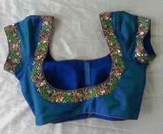 . Blouse Designs High Neck, Blouse Designs Silk, Designer Blouse Patterns, Bridal Blouse Designs, Pattu Saree Blouse Designs, Half Saree Designs, Mirror Work Blouse Design, Maggam Work Designs, Wedding Blouses