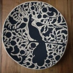 """Peacock hanging plate in statement size (14"""") Available for custom through our website or through one of our retailers. Check website for details."""