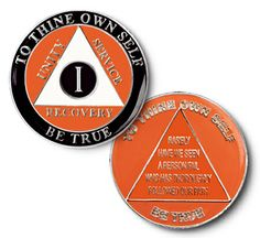 "Driscoll's Jewelry & Gifts ALCOHOLICS ANONYMOUS ""HARLEY"" ANNIVERSARY CIRCLE TRI-COLOR COIN MEDALLION"