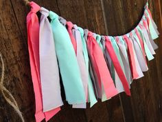 Simple Coral, Mint, & Grey Fabric Garland - Solid colors - modern nursery - charcoal - baby shower - wedding - playroom - tee pee decor by AlpineRidgeEvents on Etsy https://www.etsy.com/listing/192033999/simple-coral-mint-grey-fabric-garland