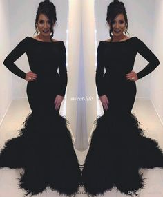 Black 2017 Long Sleeve Feather Evening Dresses Bateau Neck Mermaid Satin with Train Zipper Celebrity Pageant Gowns Arabic Women Prom Dress Evening Dresses Long Sleeve Prom Dresses Online with 164.0/Piece on Sweet-life's Store | DHgate.com