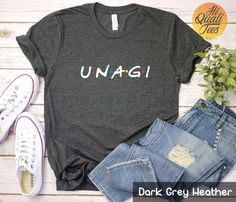 Unagi Friends t shirt | funny Friends Tv show shirt | Ross Geller quote | Friends clothing | Friends merch gift for men and women. Funny Rachel Green & Phoebe Buffay outfit for Friends Tv Show fans with True Unagi. Do you have Unagi? Not many people in the world are gifted with true Unagi.  Check out my etsy store for more friends themed shirts.