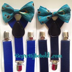 Peacock Bow tie suspenders Baby bowtie Teal Boys Bow ties Navy Blue Toddler Necktie Men bowties Royal Blue Wedding Ring Bearer Outfit Grooms by BePrettyBeBold on Etsy https://www.etsy.com/listing/240034085/peacock-bow-tie-suspenders-baby-bowtie