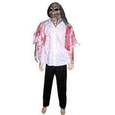 Halloween blouse met masker. Angstaanjagend masker met bebloede blouse. Het kostuum is bijvoorbeeld zeer geschikt als Halloween pak.