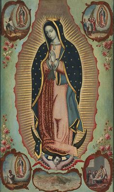An 18th century Mexican painting by Nicolas Enriquez of Our Lady of Guadalupe with four scenes from the apparition story and an aireal view of the sanctuary on Tepeyac Hill, Mexico-City.