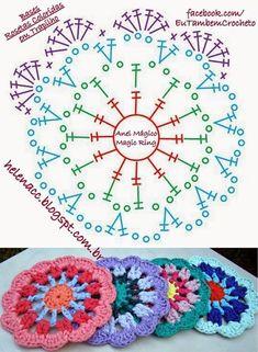 Cómo hacer mandalas con crochet o ganchillo (Patrones Gratis) - El Cómo de las. - Places to visit - Knitting For BeginnersKnitting HatCrochet PatternsCrochet Ideas Crochet Mandala Pattern, Crochet Circles, Crochet Motifs, Crochet Blocks, Crochet Flower Patterns, Crochet Diagram, Crochet Stitches Patterns, Crochet Chart, Crochet Squares