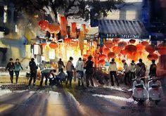Việt Nam qua những bức tranh màu nước của Direk Kingnok