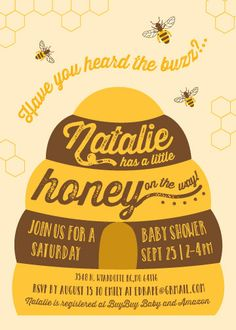 Honey Bee Baby Shower Invitation and Banner by CherryStStudio