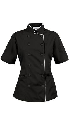 Women's Tailored Short Sleeve Chef Coat with Piping $29.99 http://www.chefuniforms.com/chef-coats/womens-chef-coats/86315-womens-chef-coat.asp?frmcolor=blawh