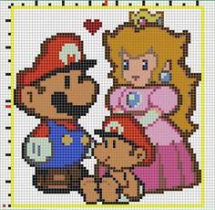Super Mario en punto de cruz