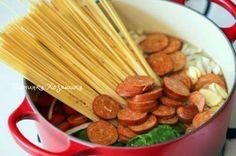 Спагетти с копчеными колбасками по-новому   - Перчинка хозяюшка