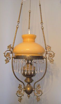 Antique Brass And Prism Hanging Parlor Lamp With Electric