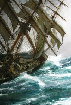 Wind in the Rigging, Montague Dawson. (1895 - 1973)