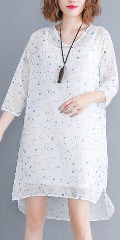 4028334c91 stylish linen blended sundress trendy plus size Women Short Sleeve Plain  White Pullovers Dress