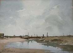 EDWARD WESSON (1910-1983) MORSTON QUAY Signed, watercolour and pencil,  24.5 x 34cm. ++ Good condition
