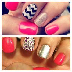 Chevron and glitter...pretty! Nails Manicure