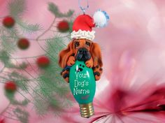Black and Tan Bloodhound Santa dog Christmas Light Bulb Ornament Sally's Bits of Clay PERSONALIZED FREE on Etsy, $22.00
