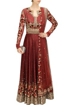 VARUN BAHL Maroon floral embroidered anarkali set  DESCRIPTION Featuring a maroon rawsilk flared with anarkali with red, maroon and beige floral motifs embroidered bodice and hem. It has silver applique work on pleats, yoke and all around the hem. It is paired with matching churidaar pants and maroon net embroidered dupatta. FIT: Fits true to size. COMPOSITION: Chanderi, rawsilk, net. Lining: Viscose crepe.