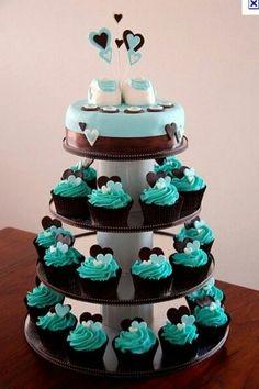 Piece montee cupcake bleue