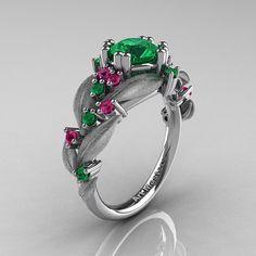 Natur klassische 14K White Gold 10 Ct Smaragd rosa Saphir