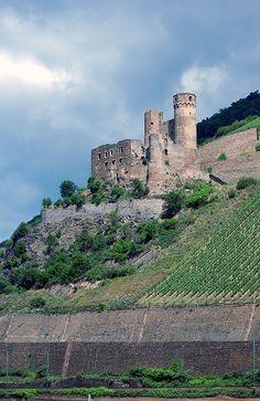 Ehrenfels Castle along the Rhine near Rudesheim, Germany