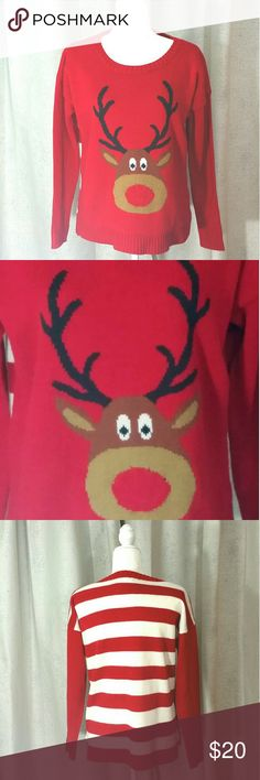 Reindeer Striped Christmas Holiday Sweater A cute ugly sweater. Lights can be put in reindeer nose. In great used condition. Lights not included. Front has reindeer, back is striped. It's Our Time Sweaters Crew & Scoop Necks