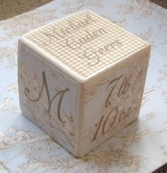 Baby Block. Personalised with childs initial, name, birth date and time, weight, length, star sign, birth stone, birth flower, Chinese zodiac sign, parents names. Make with wood block for keepsake.