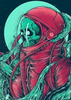 Space Alien Skull on Behance Alien Skull, Skull Art, Arte Horror, Horror Art, Art Pop, Psychedelic Art, Art And Illustration, Dope Kunst, Skeleton Art