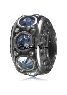 This beautiful December Blue birthstone .925 Sterling Silver European charm fits Pandora, Biagi Trollbeads, Chamilia, and most charm bracelets find out more at adabele.com