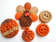 Button Turkey         polymer clay buttons     ( 5 )