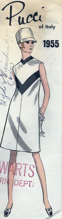 Vogue Couturier Design 1955 - Emilio Pucci - Size 10 - Wow -- this is VERY fashion forward for 1955. This look didn't really emerge until the later 60's.